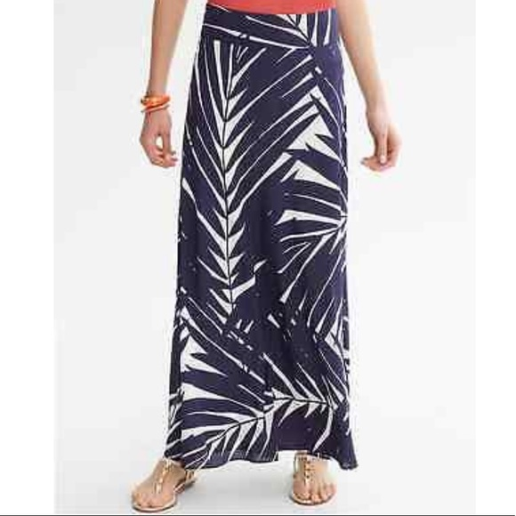 Banana Republic Palm Leaf Silk Patio Maxi Skirt